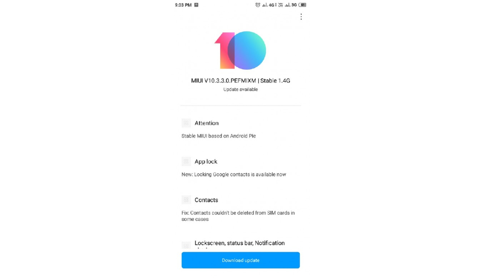 Xiaomi Redmi Y2 Android 9 Pie update