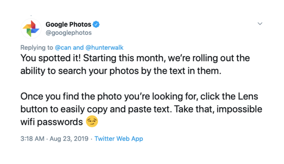 Google Photos search by text