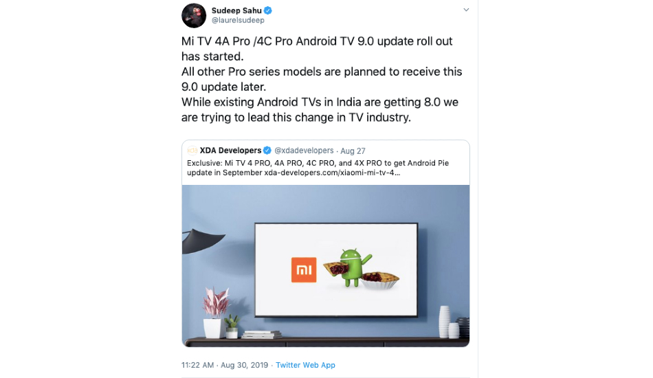 Xiaomi starts rolling out Android Pie update to Mi TV 4A Pro