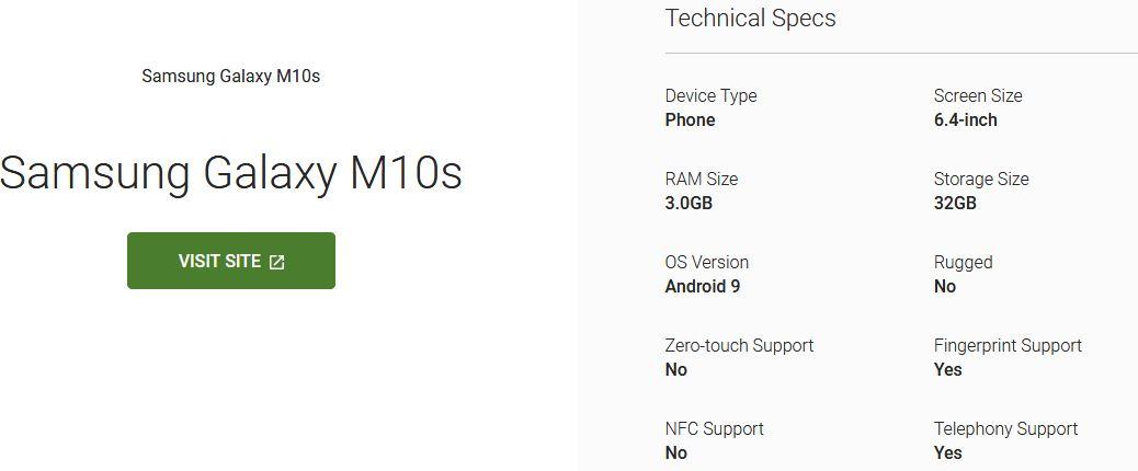 Samsung Galaxy M10s Android Enterprise listing reveals key