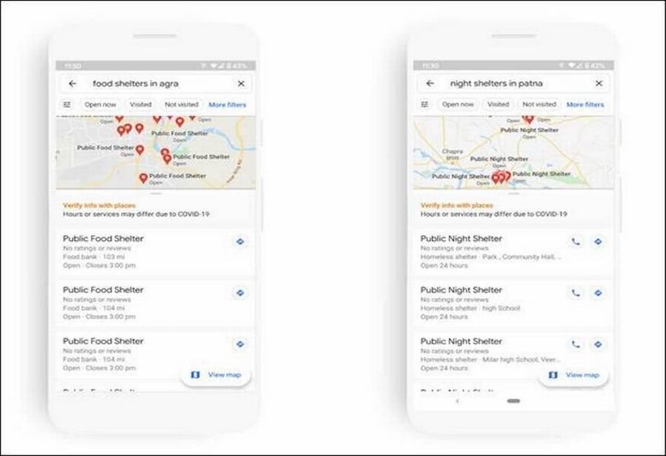 خرائط جوجل لإظهار المأوى الغذاء والليل ل COVID-19 المتضررة 2