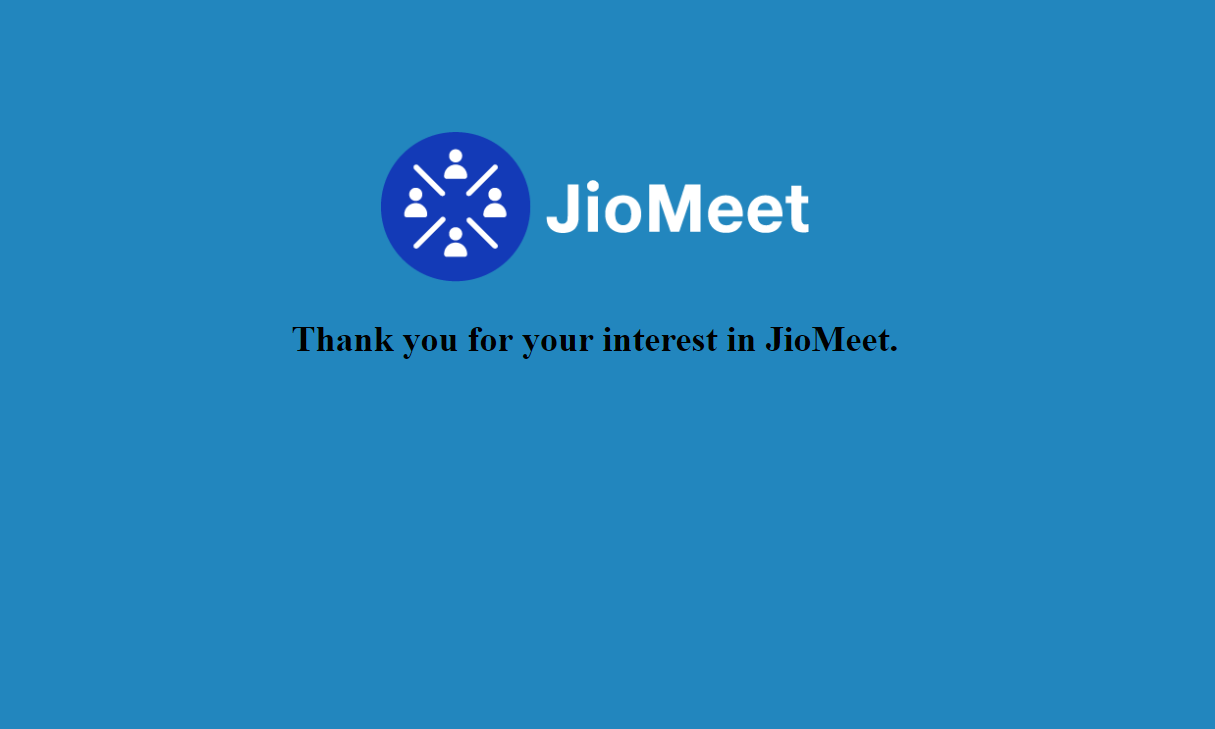 the Jio meet website has been taken down for now