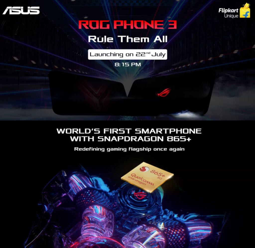 Asus ROG Phone 3 with 5G Network Support and Octa Core  Snapdragon 865+ launching tomorrow in India