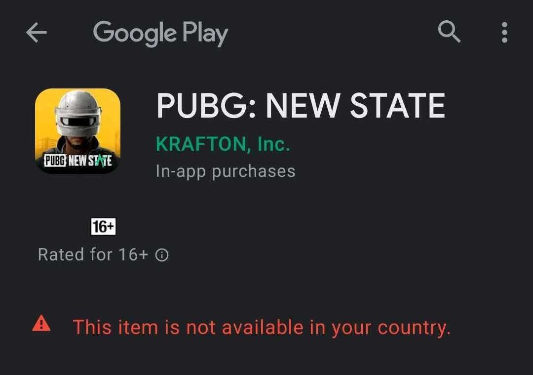 Pubg New State playstore