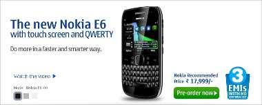Nokia E6 pre order starts today for India
