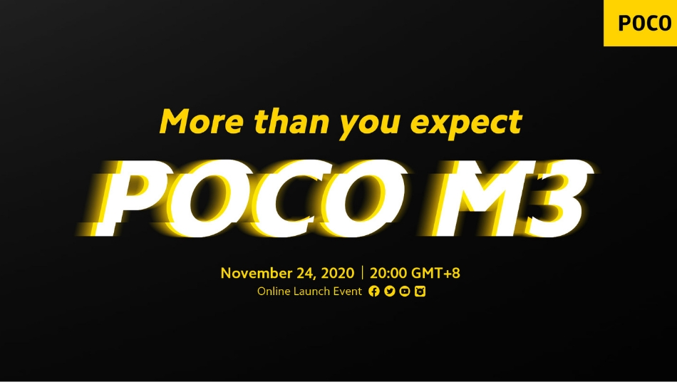 Poco M3 launch confirmed for November 24th