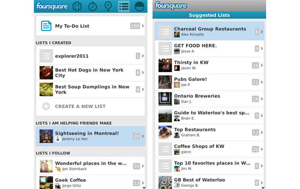 Foursquare for BlackBerry updated