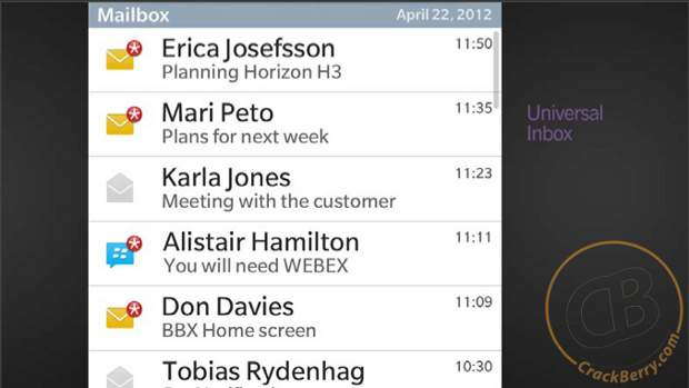 Mockup images of BlackBerry 10 hints new features