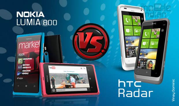 HTC Radar vs Nokia Lumia 800