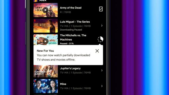 Netflix Partial Download feature