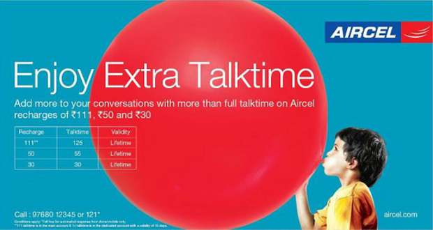 Aircel offers full talktime on recharges starting Rs 30