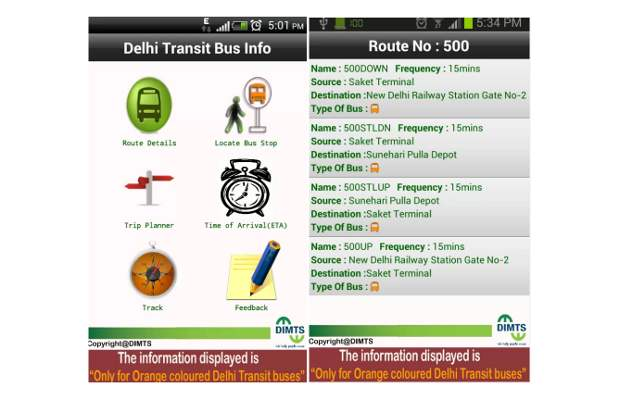 Delhi Transit Bus info Android app launched