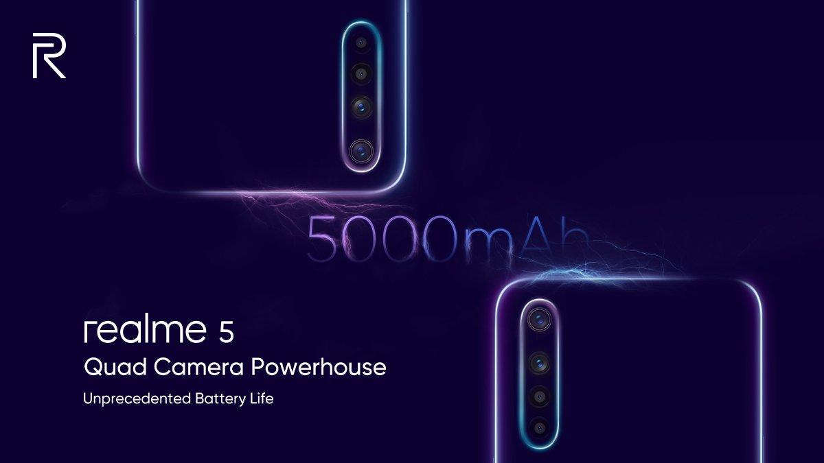 Realme 5 confirmed to feature 5000mAh battery, Realme 5 Pro to sport VOOC 3.0 Flash charge