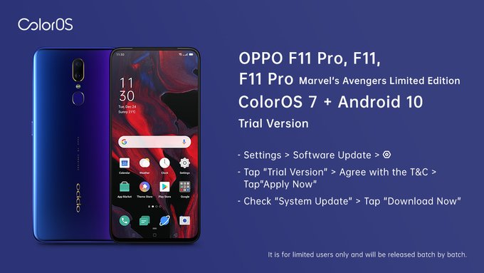 Oppo F11, F11 Pro ColorOS 7 trial version now open for registrations
