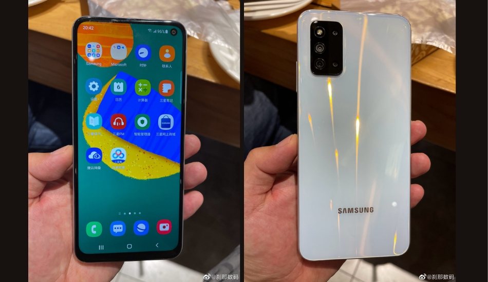 Samsung's Galaxy F52 5G appears in live shots with an off-centered punch-hole camera