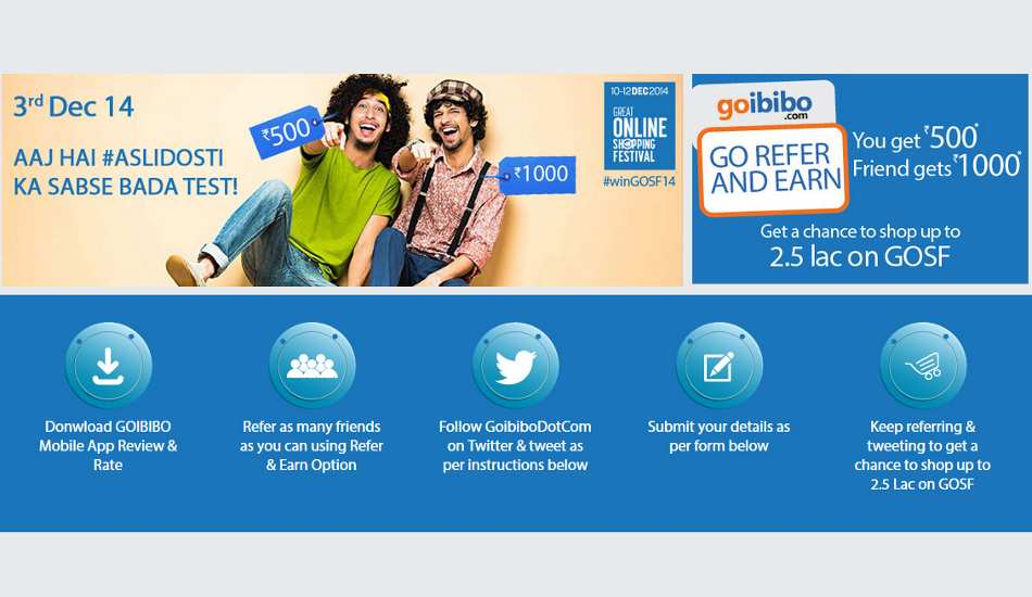 Goibibo announces mobile referral program; offers free shopping up to Rs 2.5 lakh