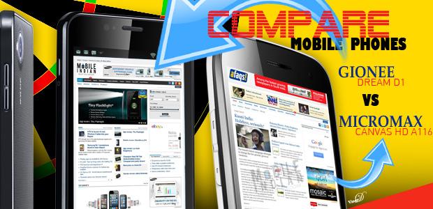 Gionee Dream D1 vs Micromax Canvas HD