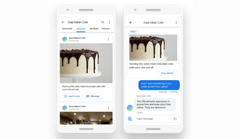 Google Maps enabling businesses to directly message their customers within the Maps application