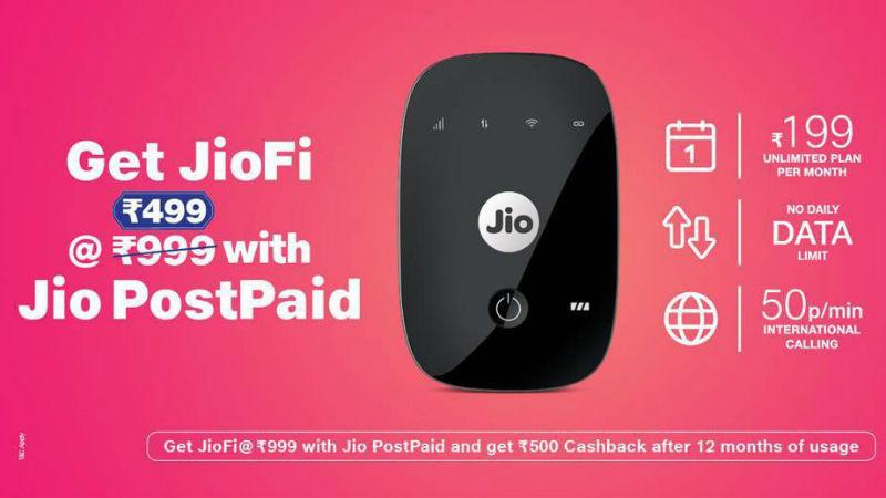 Reliance Jio New Offer: Rs 500 cashback on JioFi