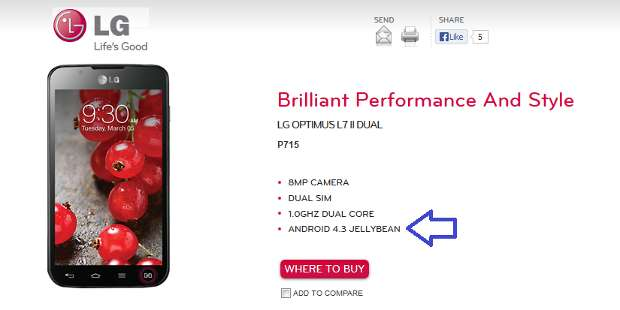 LG Optimus L7 II Jelly Bean OS mistakably published as 4.3