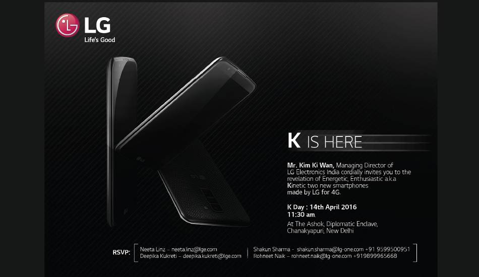 LG to launch two K series 4G smartphones in India on April 14