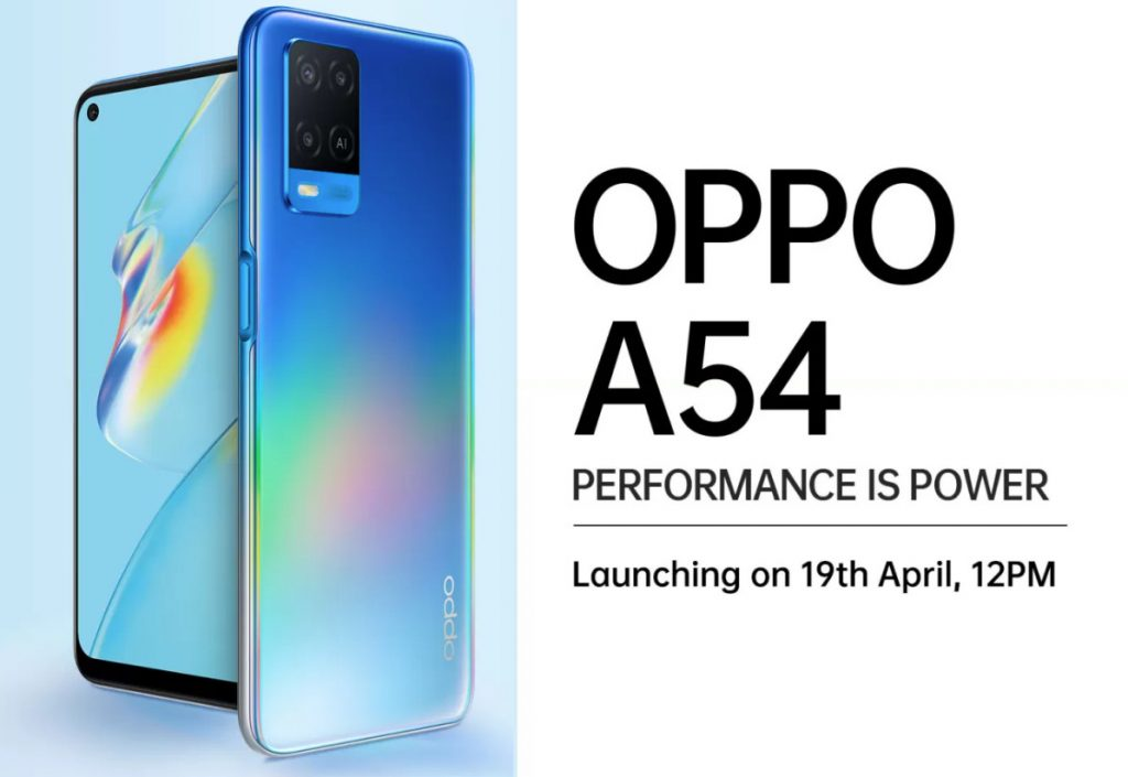 Oppo A54 with 5,000mAh battery launching in India on April 19, Flipkart availability confirmed