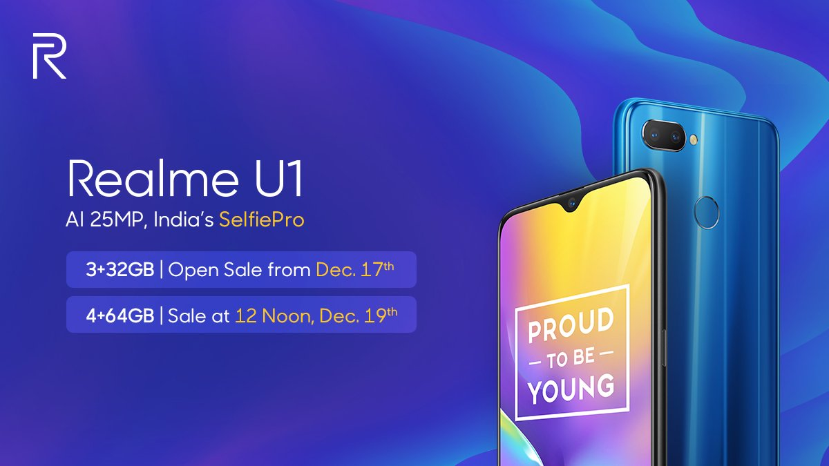 Realme U1 3GB variant to be available on open sale starting December 17