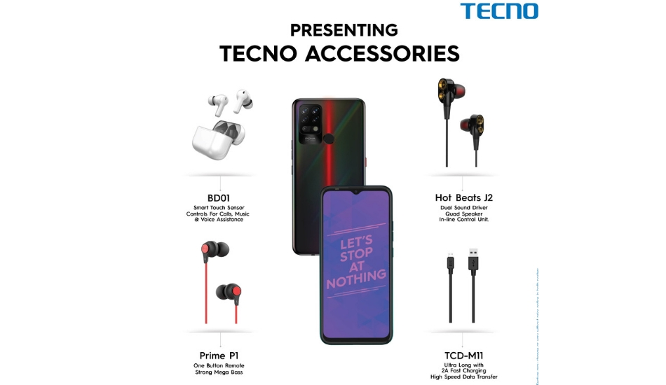 Tecno launches Accessories including TWS earbuds, wired earphones, and USB cable
