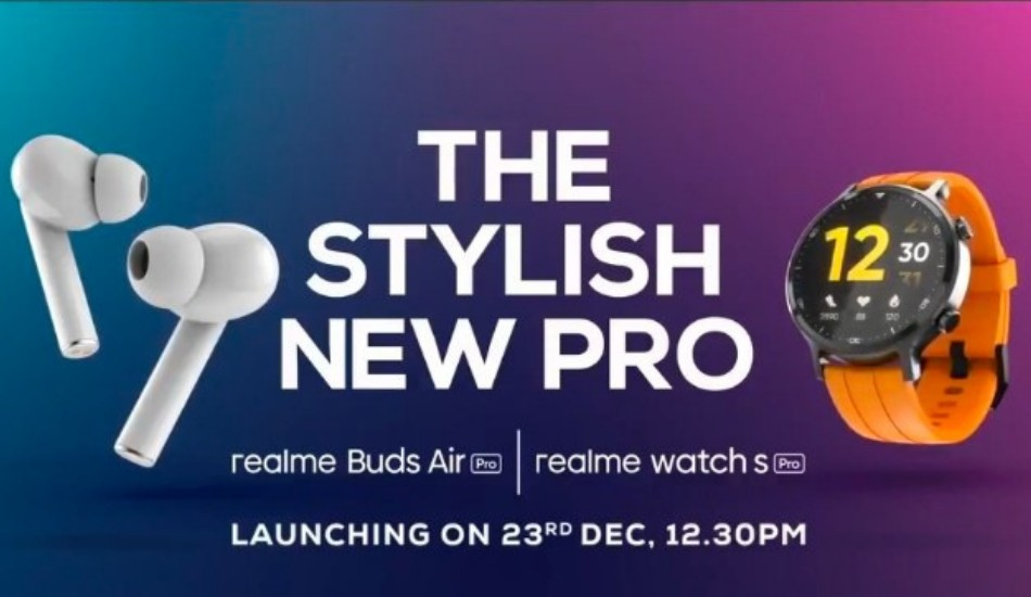Realme Watch S Pro launching in India on 23rd December, alongside Watch S and Buds Air Pro Master Edition