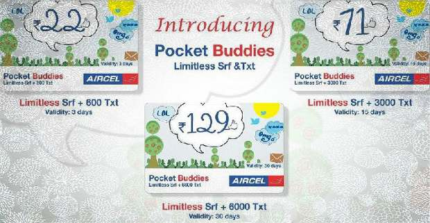 Aircel PocketBuddies plan with unlimited data & bundled SMS