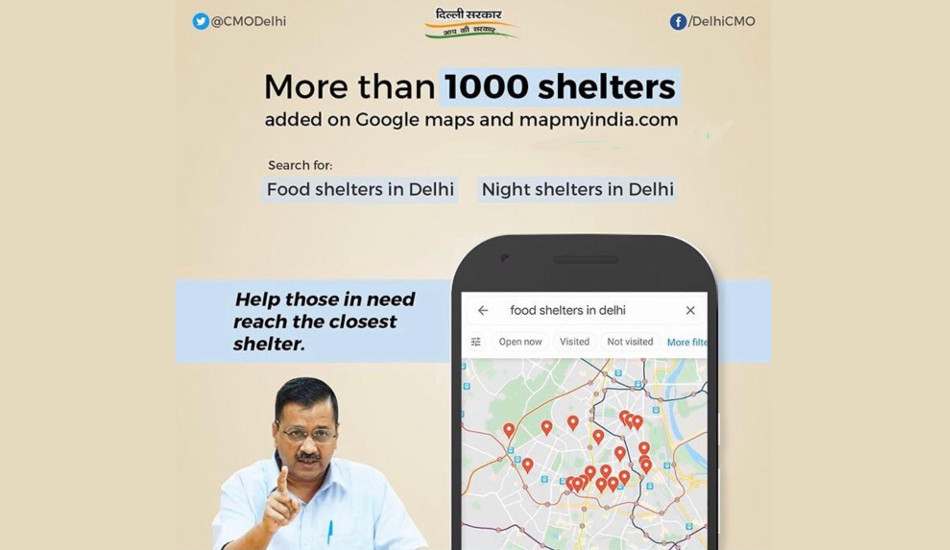 Food distribution centres and night shelters in Delhi can now be located on Google Maps