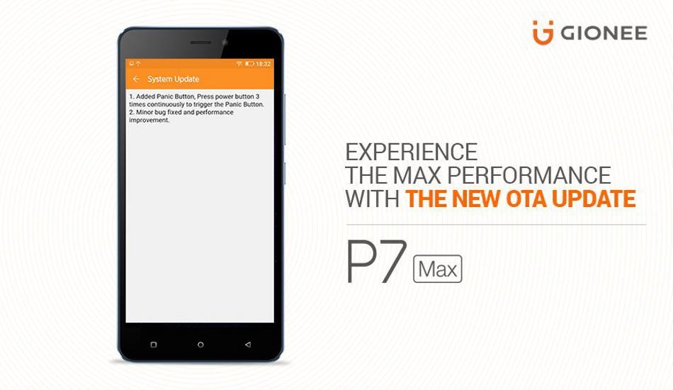 Gionee P7 Max get new OTA update, brings Panic Botton support