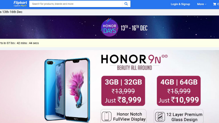 Honor Days Sale on Flipkart: Discount on Honor 9N, 7A, 9 Lite and more