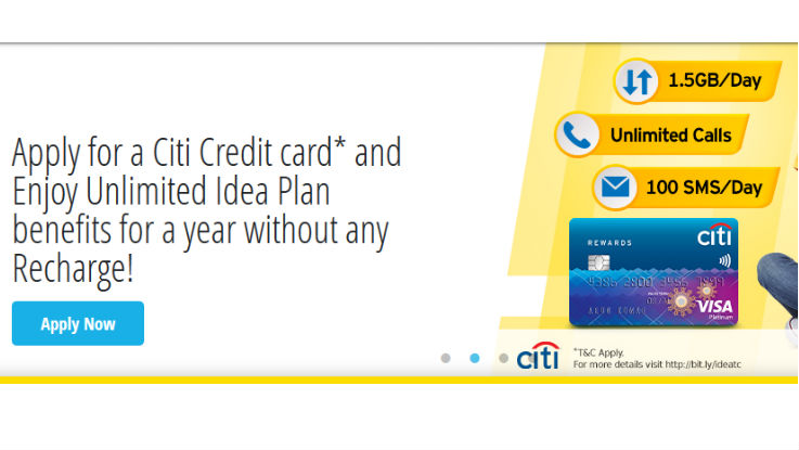 Idea Cellular offers 1.5GB of daily data and more for one year to Citi Credit Card customers