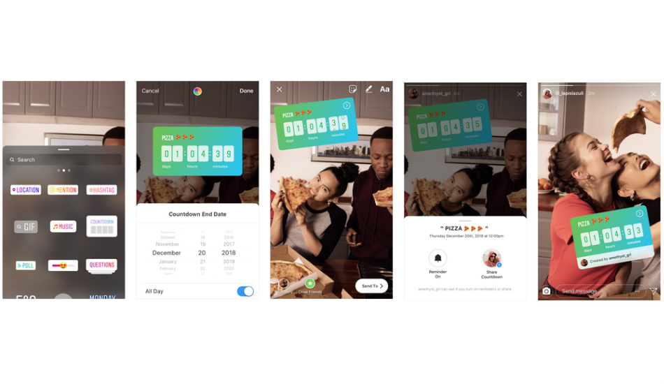 Instagram introduces music recommendation and countdown stickers, Live Q&A feature