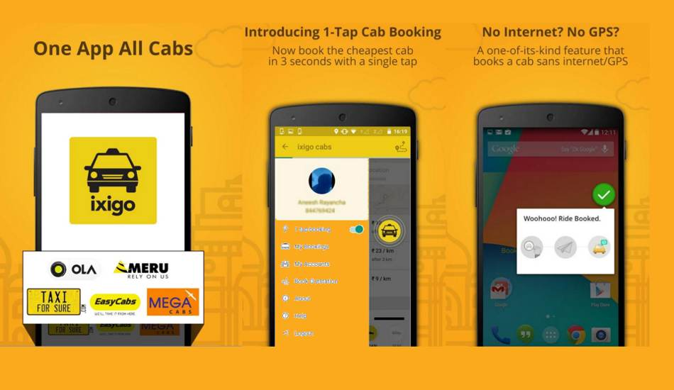 Now ixigo app allows booking cabs even without internet
