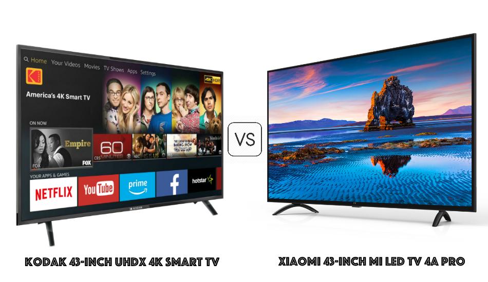 Kodak 43-inch UHDX 4K Smart TV vs Xiaomi 43-inch Mi LED TV 4A PRO: Best in the big league