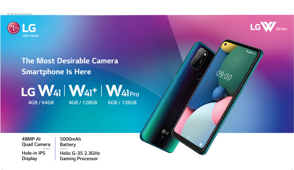 LG W41, W41+ and W41 Pro smartphones launched in India with 48MP quad camera setup, 5000mAh battery
