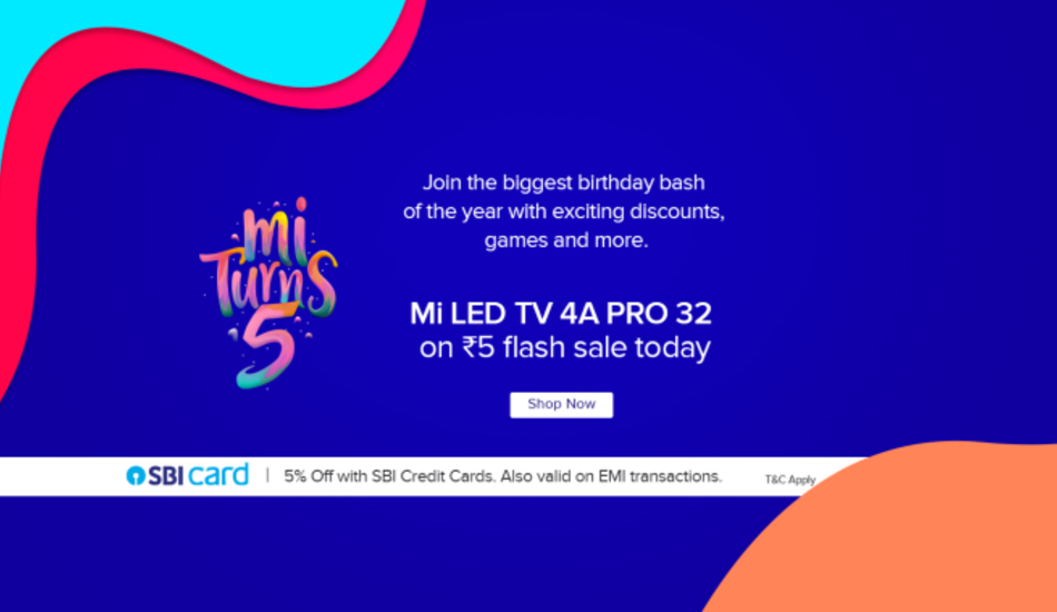 Xiaomi is hosting the fifth Mi anniversary sale from July 23 - 25