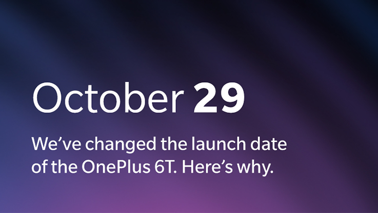 OnePlus 6T global launch event rescheduled to October 29