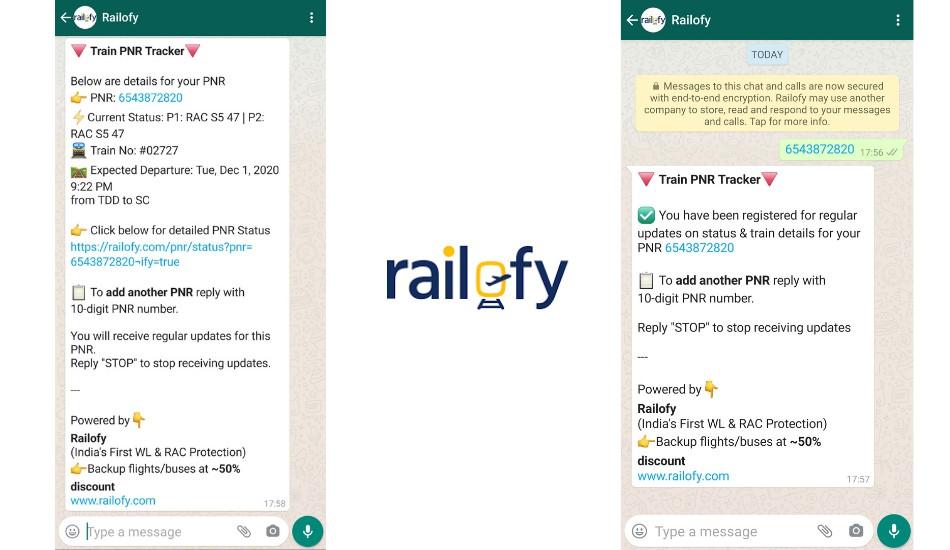 Railofy brings train PNR status to WhatsApp