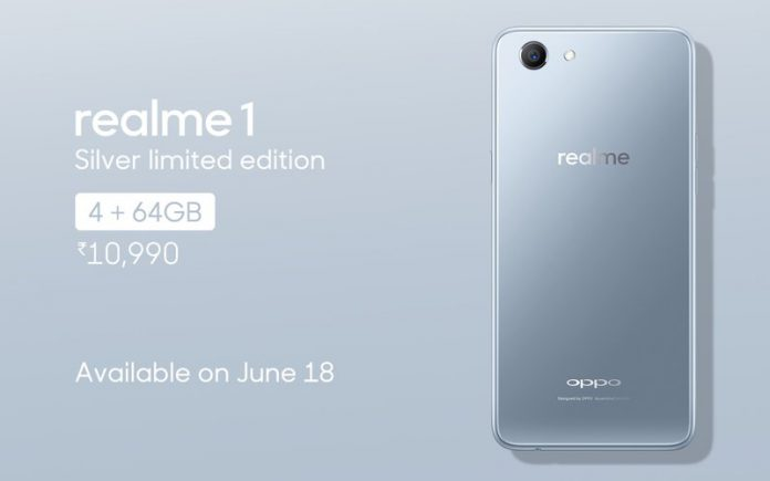 Realme 1 Silver Limited Edition launched, to go on sale on June 18 on Amazon