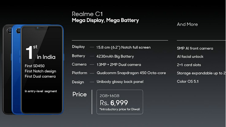 Realme C1 launched  two new variants, will start at Rs 7,499