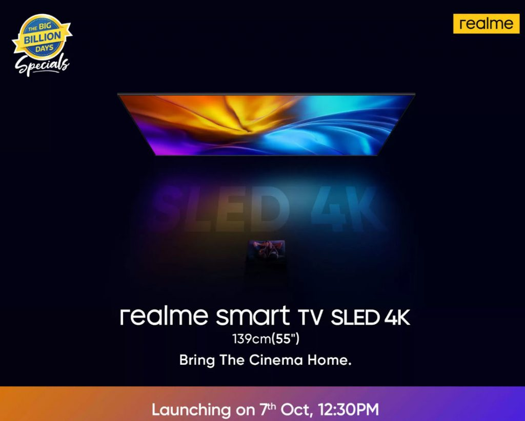 Realme Smart SLED 4K TV to launch in India on October 7