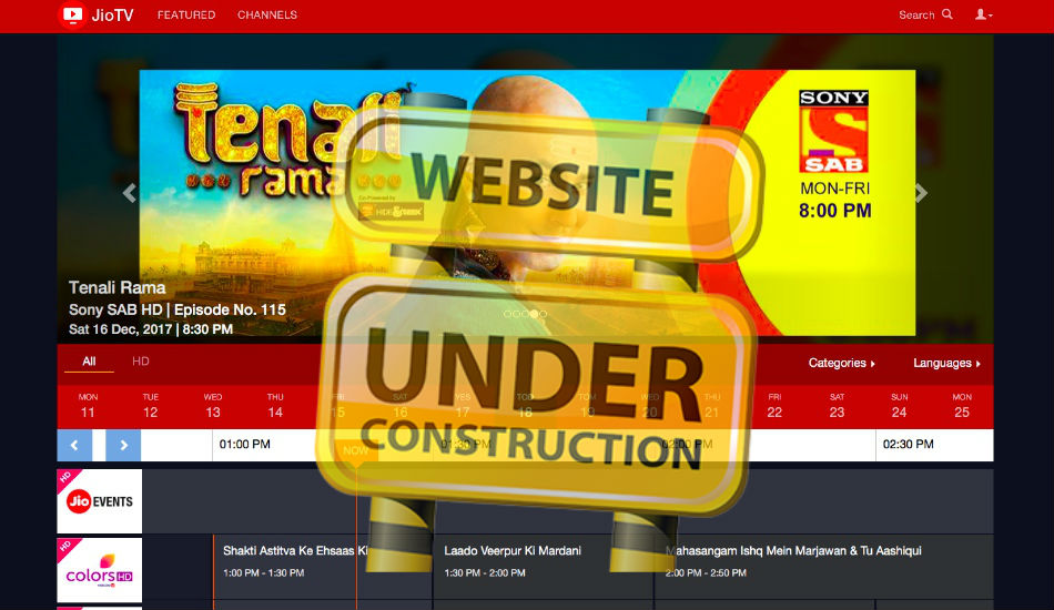 Reliance JioTV has been pulled down from the web