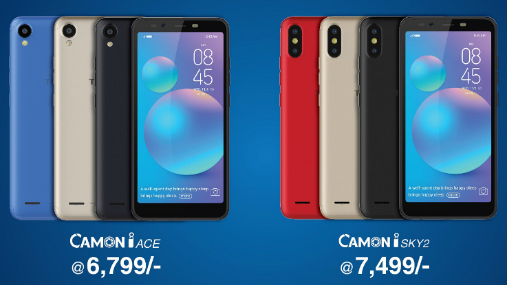 Tecno Camon iACE, Camon iSKY 2 with FullView display, AI-infused camera launched in India