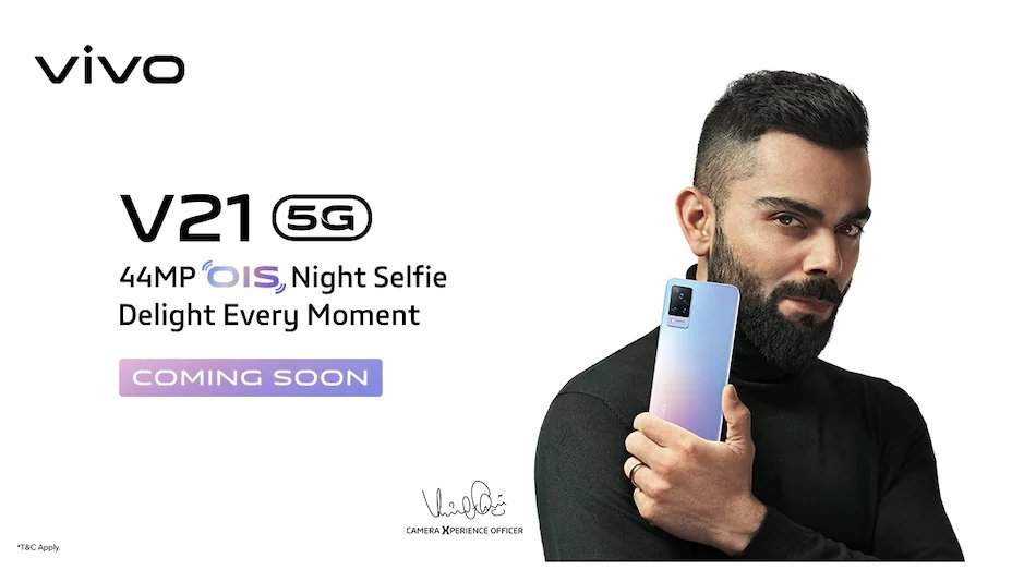 Vivo V21 5G confirmed to launch in India with 44MP Selfie Camera