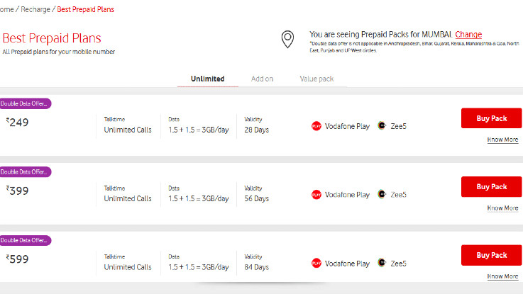 Vodafone Idea double data offer now available in more circles