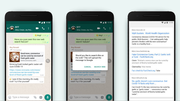 WhatsApp adds ability to cross-check forwarded messages via Google