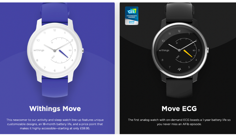 CES 2019: Withings Move and Move ECG analogue fitness watches announced with 18-month battery